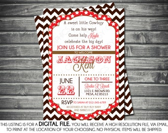 Boys Baby Shower Invitation - Modern, Chevron Stripes, Stars, Brown, Red, Printable, Digital