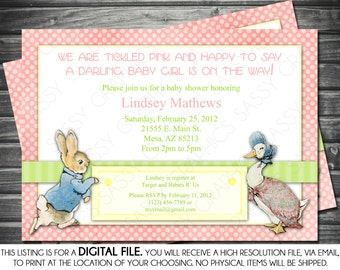 Girl Baby Shower Invitation - Peter Rabbit Theme, Pink, Polka Dots, Printable, Digital