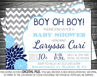 Boys Baby Shower Invitation - Modern, Chevron, Navy, Light Blue, Mums, Printable, Digital