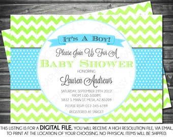 Boys Baby Shower Invitation - Chevron, Gray, Green, Turquoise, Printable, Digital