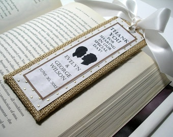 Burlap Save the Date/Wedding Bookmarkers/Party Favors - (Custom Colors Available)