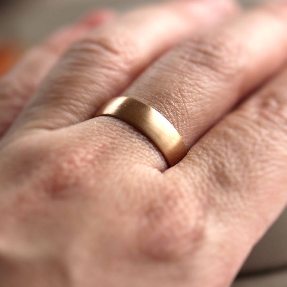 Man S Hand Bands: Wide Rose Gold Men's Wedding Band Recycled 14k Rose Gold