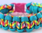 """550 Paracord Cobra Weave Survival Strap Bracelet Anklet w/ 2 Colors & 3/8"""" Contoured Buckle Many Colors"""