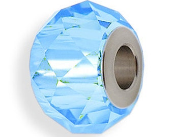 Beads, Swarovski Crystal, Art. 5940, 14mm BeCharmed Briolette Bead, Aquamarine Qty1