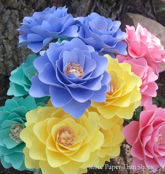 Paper Flowers - Wedding Flowers - Birthday Decorations - Special Events - Wide Variety Of Colors - Made To Order - SET OF 48