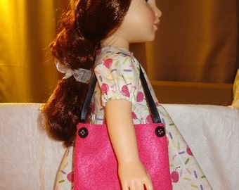 Hot pink and black tote bag purse for 18 inch Dolls - agp5