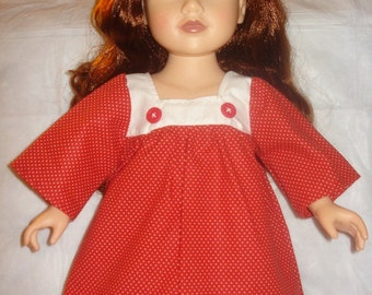 Red and white polka dot dress for 18 inch Dolls - ag139