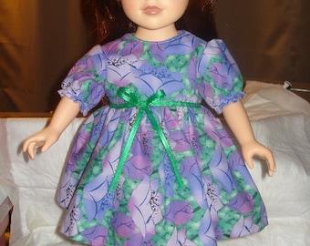 18 inch doll lavendar purple floral full dress - ag160