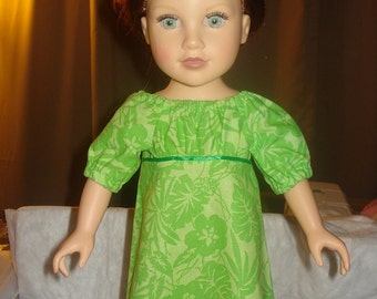 Handmade 18 inch Doll empire waist peasant dress in lime green floral - AG30