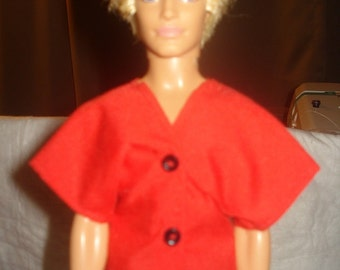 Red short sleeve shirt with buttons for Male Fashion Dolls - kdc4