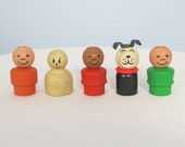 Vintage Fisher Price Wooden Little People / Five Piece Set
