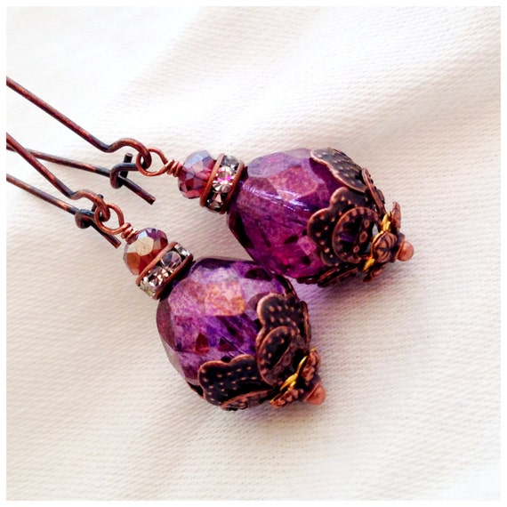 Boho Rustic Bohemian Hippie Chic Picasso Purple Lilac Mottled Amethyst Czech Dangle Flower Earrings Wedding Bridesmaid Gift