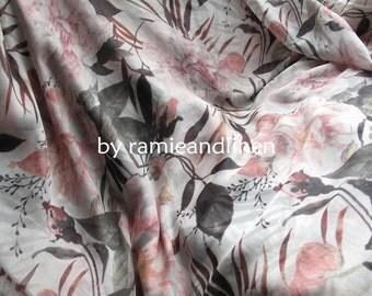 """silk fabric, Silk chiffon floral print Fabric, one yard by 53"""" wide"""