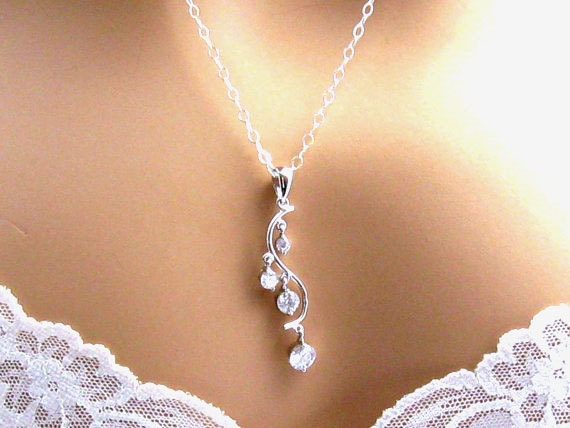 Long Cubic Zirconia Necklace, Art Nouveau CZ Pendant, Sterling Silver, Branch, Cleavage, Wedding Jewelry,  Romantic Jewelry, Gift