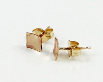 Gold Stud Earrings - Petite Domed Square Earrings with 14K GF Earring Post - Everyday Wearable Jewelry