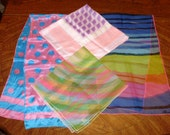4 Vtg Women's Colorful Scarves Burmel Specialty House Nylon Silk Scarf Lot Pinks