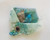 Turquoise Green Fabric Handmade Brooch - RobinsArtAndDesign