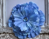 6 in. Large Blue Flower Hair Clip