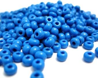 Blue Seed Beads, 1oz Acid Blue 4mm Czech Glass Sead Beads, Size 6/0 350-400 Beads