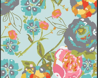 Garden Rocket in Turquoise Lilly Belle Fabric by Bari J for Art Gallery Fabrics, 1 yard