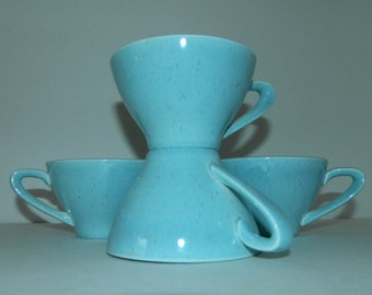 vintage 1950s ATOMIC blue ceramic mugs coffee tea MCM
