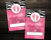 INSTANT DOWNLOAD - Printable Diaper Raffle Ticket Cards -- Mod Pink Zebra Print