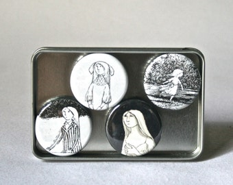 Black and White Magnets Featuring Young Ladies by Edward Gorey for Home Office Decor