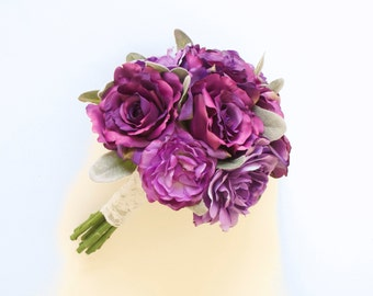 Garden Rose and Peony Purple Bouquet (Silk Bouquet, Artificial Bouquet) Silvery-Green Leaves, Lamb's Ear Leaves