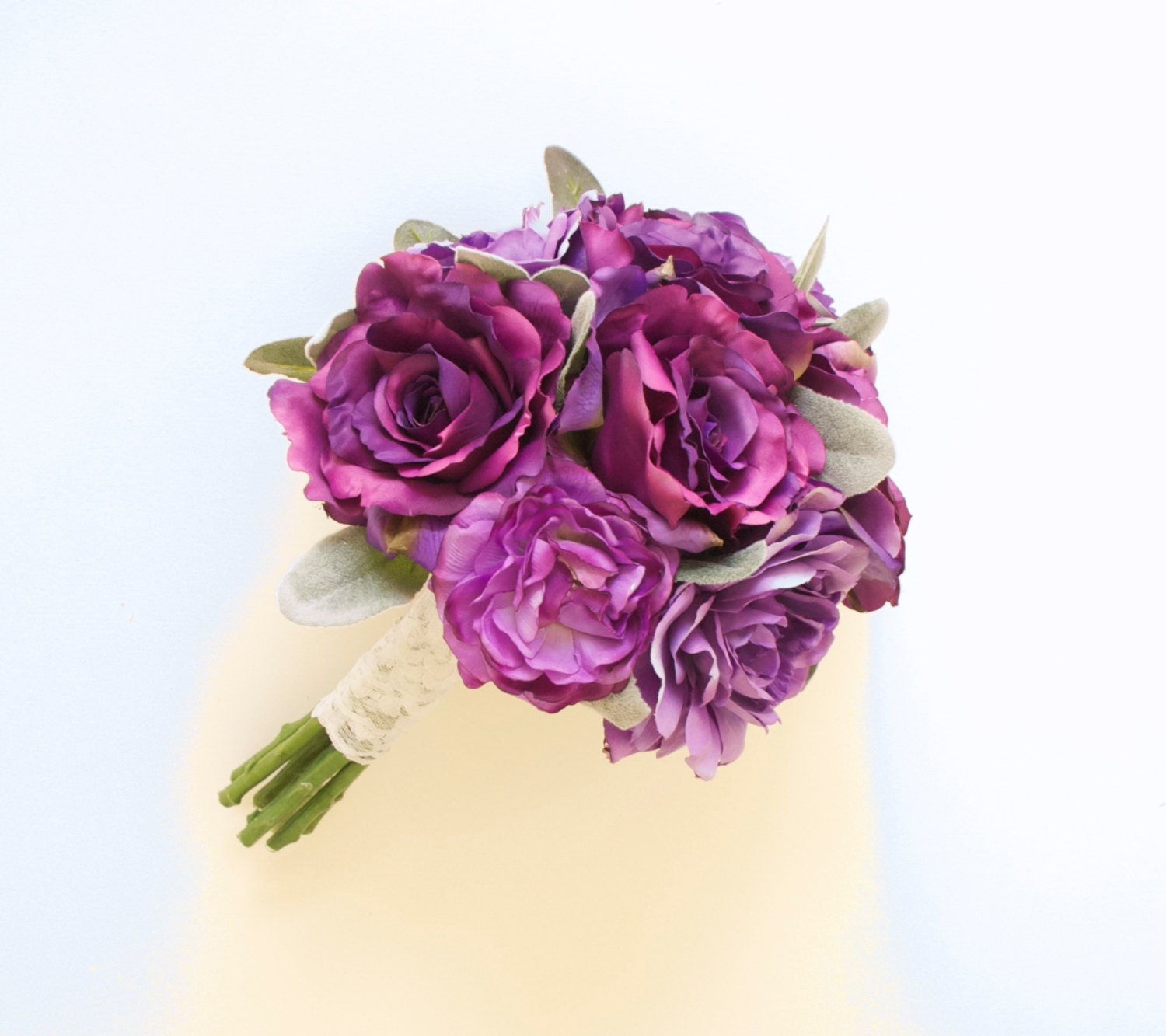 Garden Rose and Peony Purple Bouquet Silk Bouquet Artificial