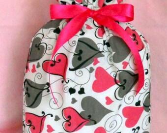 Modern Pink and Brown Hearts Medium Fabric Gift Bag - Wedding, Bridal, Romance, Love, Romantic, Valentine's Day, Black, White