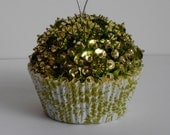 SALE Green and Gold Sequin Beaded Cupcake Ornament