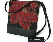 Crossbody Bag, Fabric Hip Bag, Pouch Purse - Rugosa Floral in Black, Gold and Scarlet
