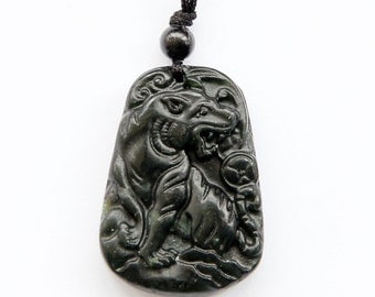 Natural stone Pendant Carved Chinese Zodiac Tiger Amulet Talisman Bead For Jewelry 38mm x 27mm  TH159