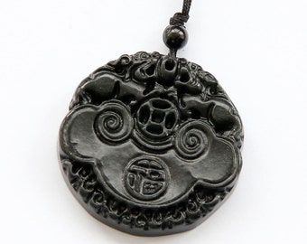 Natural Stone Twin Draons Blessing FU Amulet Pendant 41mm x 41mm  TH160