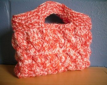 Hand Knitted Clutch, Small White and Pink Handbag
