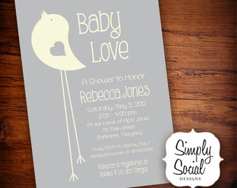 Grey and Creme Little Bird Baby Shower Invitation