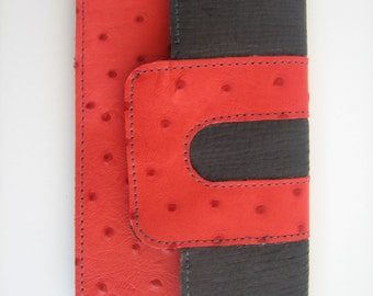 Gray & Coral Ostrich Printed Leather Wallet