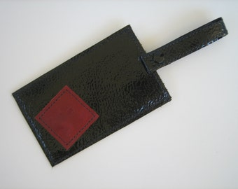 Black Patent Leather Luggage Tag