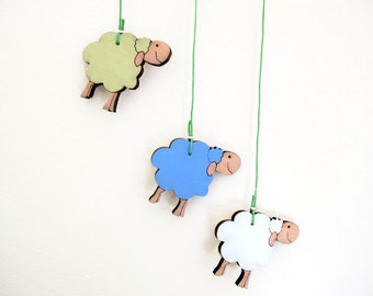 Mobile - nursery mobile ,Set of 3 wooden sheep-blue, green and white sheep -baby mobile, animal colorful happy mobile