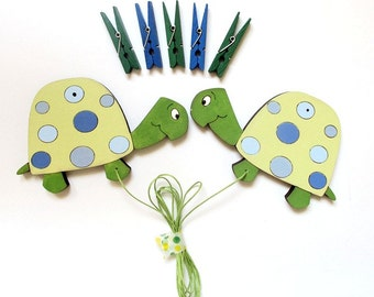 Children's  Artwork display hanger- Turtles Blue and green -kids wall art, kids art hangers, boys wall decor, baby shower decoration