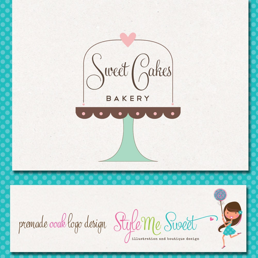 Logo Design Hand Drawn Premade OOAK Sweet Cake Stand with Text