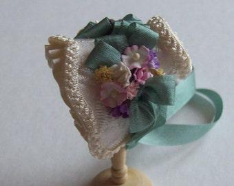 Handmade 1/12th scale dollhouse miniature beautiful ivory silk bonnet