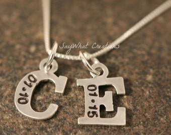 Custom Hand Stamped Sterling Silver Letter Initial Charm with Birth date Necklace