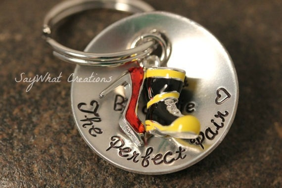 The Perfect Pair Key Chain Firefighter Boot and  High Heel  Perfect for Fireman's Wife