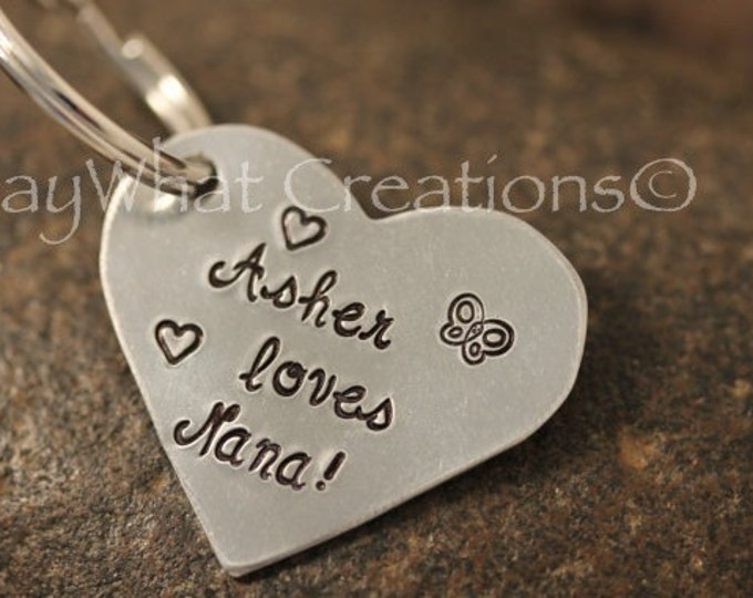 Custom Hand Stamped Heart Shaped Key Chain makes a perfect mothers or grandmothers gift