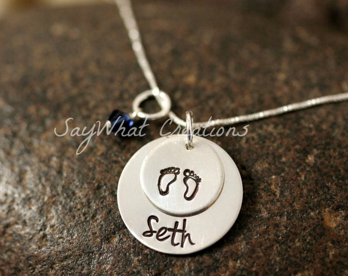 Sterling Silver Baby Feet Two Disk Stacked Necklace with Baby's Name Perfect for new moms