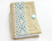 Organic linen handmade journal, diary, notebook, blue and white cotton lace, 384 pages, lined paper