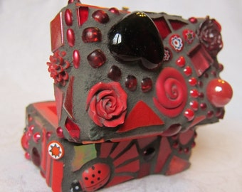 Red Heart Mosaic Ring Box, Treasure Chest
