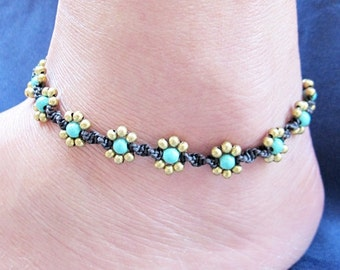 Daisy Flower Line with Turquoise Anklet  A246