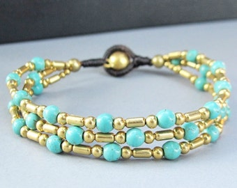 Boho Multi Strand Bracelet with Brass Bead and Turquoise Bead